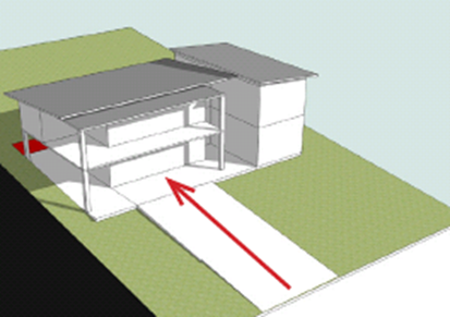 Building on an up slope Block