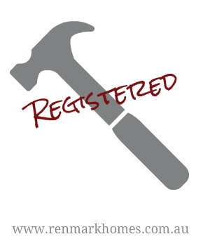 Grey hammer with word Registered over top to show home builder is registered