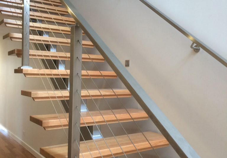 Staircase | Timber Centre Spine | Nautical Wire Balustrade