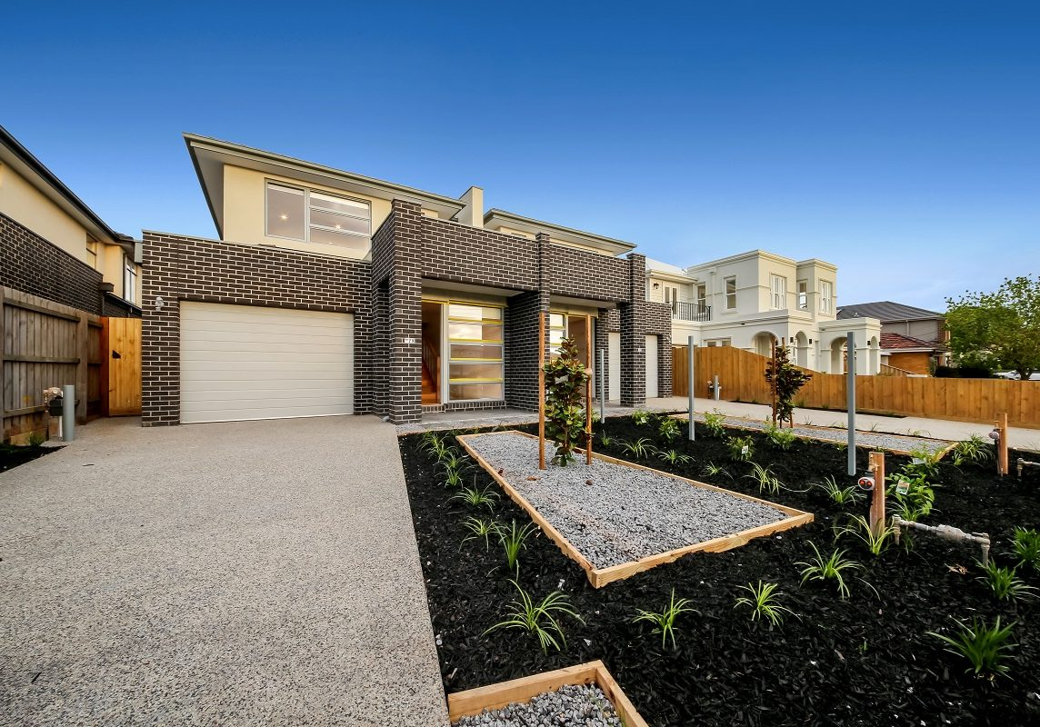 Newly Build Dual Occupancy Homes with brick and render, garages and front garden