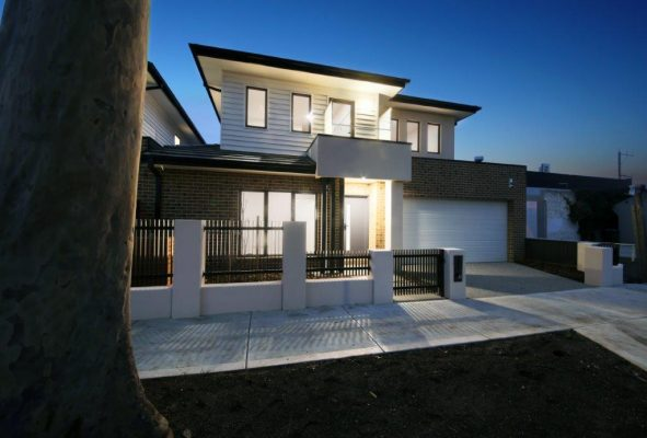 custom dual occupancy home with own front yard and garage built on a corner block configuration. Double storey, brick and weatherboard. Modern design.
